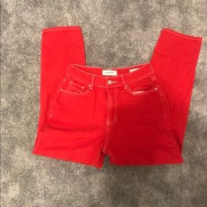 mid rise red mom jeans.